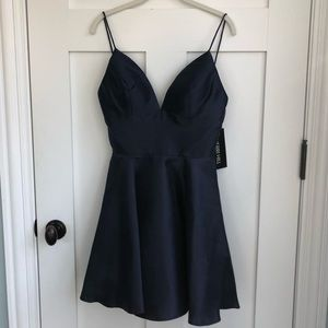Sherri Hill navy fit and flare dress, new with tag